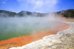 Wai-O-Tapu Thermal Wonderland inNew Zealand. Champagne Pool steam geothermal water lava crust royalty free stock photo