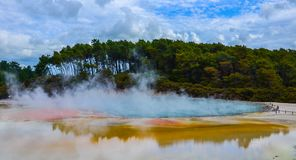 Wai-O-Tapu Thermal Wonderland New Zealand. View of colorful steaming volcanic Champagne pool in geothermal Wai-O-Tapu wonderland in Rotorua, North Island, New royalty free stock photography