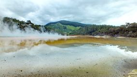 Wai-O-Tapu Thermal Wonderland. In the geothermal valley of Rotorua, New Zealand stock image