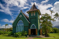 Wai'oli hui'ia church, hawaii. Built in 1912, wai'oli hui'ui church, is still used by an active christian congregation for sunday church services. located on the stock photo