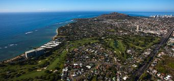 Beautiful aerial view of Diamond Crater and the Waialae golf course and Country Club Oahu, Hawaii. stock images