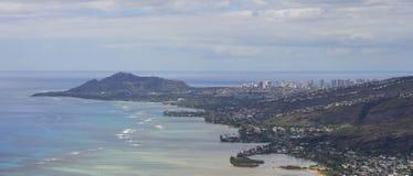 Waialae e Waikiki panoramici Immagini Stock