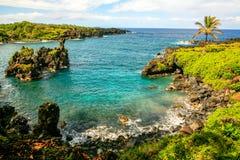 Waianapanapa国家公园,毛伊,夏威夷,向哈纳的路 图库摄影