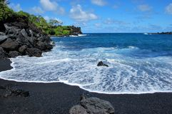 Waianapanapa Beach. Black sand beach in Maui, Hawaii, near Hana Stock Photography