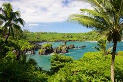 Waianapanapa Black Sand Beach. On the Hawaiian island of Maui along Road to Hana Royalty Free Stock Images