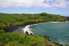Waianapanapa Black Sand Beach Stock Image
