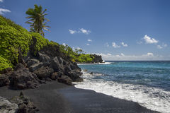 Waianapanapa state park, black sand beach. Maui, Hawaii Stock Photos