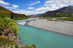 Waiau flod, norr Canterbury som är nyazeeländsk Fotografering för Bildbyråer