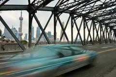Waibaidu桥梁和上海地平线 库存图片