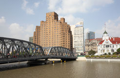 Waibaidu Brücke in Shanghai Stockbild