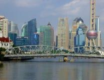 Waibaidu bridge and Lujiazui scene in Shanghai Stock Photo