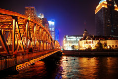 Waibaidu bridge in night in Shanghai Royalty Free Stock Photos
