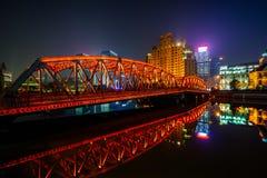 The Waibaidu bridge at night in Shanghai Stock Image