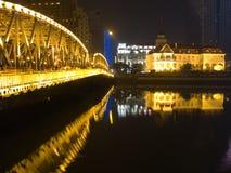 Waibaidu Bridge in Shanghai Royalty Free Stock Photo