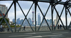 Waibaidu Bridge and Shanghai Skyline Royalty Free Stock Images