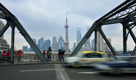 Waibaidu Bridge and Shanghai Skyline Royalty Free Stock Photo