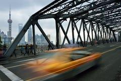 Waibaidu Bridge and Shanghai Skyline Stock Photography