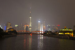 Waibaidu bridge and Shanghai skyline Stock Photography