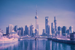 Waibaidu bridge and Shanghai TV tower Royalty Free Stock Photo