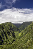 Waihee Ridge Trail, looking up the valley to the West Maui Mountains, Hawaii. View from Waihee Ridge Trail, looking up the valley to the West Maui Mountains royalty free stock images