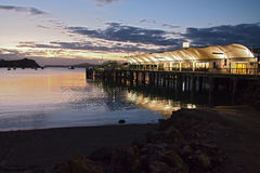 Waiheke island ferry terminal. Sunset Royalty Free Stock Images