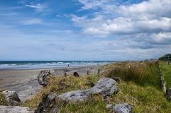 Waihi Beach, Bay of Plenty. New Zealand. Waihi Beach is a beautiful 9km-long authentic kiwi sandy beach known for its surfing is located in the Bay of Plenty on royalty free stock photo
