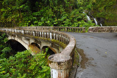 Waikani从桥梁,毛伊,夏威夷下跌 免版税库存照片
