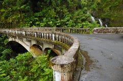 Waikani faller från bron, Maui, Hawaii Royaltyfri Foto