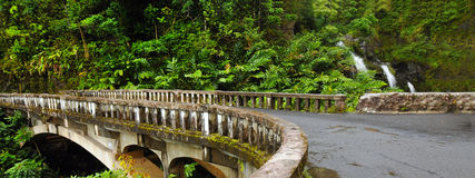 Waikani Falls From Bridge, Maui, Hawaii Stock Photo