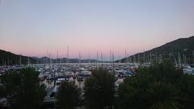 Waikawa marina. Sun setting over waikawa marina Royalty Free Stock Photography