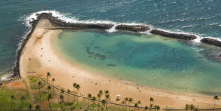 Waikik Beach, Honolulu. Ariel show of a protected bay lagoon in Hawaii Stock Image