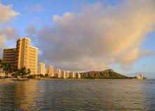 Waikiki日落 免版税库存图片