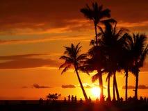 Waikiki日落 库存图片