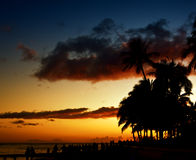 waikiki захода солнца Стоковые Изображения