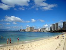Waikiki. Looking towards the hotels further up the beach Royalty Free Stock Images