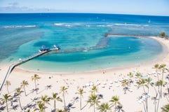 著名Waikiki海滩 免版税库存照片