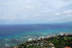 Waikiki. A view of Waikiki (east side) in Hawaii from the top of Diamond Head Stock Photo