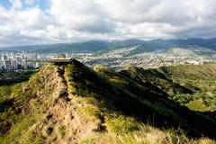 Waikiki-Ansicht von Diamond Head Stockfotos