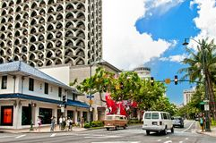 Waikiki area in Honolulu , Oahu, Hawaii Stock Photos