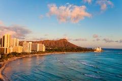 Waikiki beach. With diamond head resorts hawaii Stock Photos