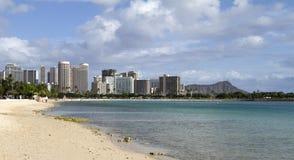 Waikiki beach. From Ala Moana beach park on a sunny summer day in Honolulu, Hawaii Royalty Free Stock Photo