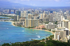 Waikiki Beach. Top view of Honolulu Waikiki Beach Stock Images