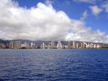Waikiki Beach Coastline, Oahu, Hawaii. Waikiki Beach Coastline as seen from the ocean, Oahu, Hawaii Stock Image