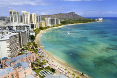 Waikiki beach and diamond head Stock Photos