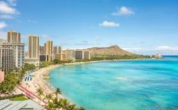 Waikiki beach and Diamond Head stock photography