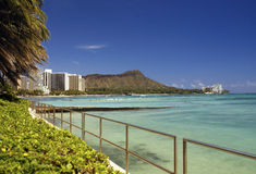 Waikiki Beach and Diamond Head - Hawaii - USA Royalty Free Stock Photo
