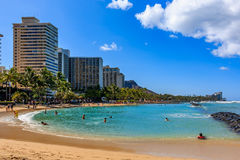Waikiki beach and Diamond Head in Honolulu Hawaii Stock Images