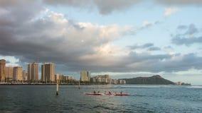 Waikiki Beach and Diamond Head Time Lapse Video. Fast moving clouds over Waikiki Beach and Diamond Head on the beautiful Hawaiian Island of Oahu stock video