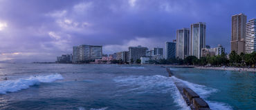 Waikiki Beach at dusk Royalty Free Stock Photo