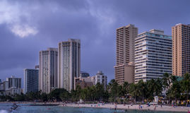 Waikiki Beach at dusk Royalty Free Stock Photos